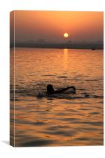 Swimming in the Ganges at Sunrise, Canvas Print
