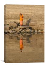 Reflection of a Saddhu, River Ganges, Varanasi, In, Canvas Print