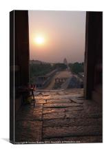 Sunset Over Hampi Bazaar, Karnataka, India, Canvas Print