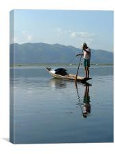 Early morning fisherman on Lake Inle, Canvas Print
