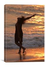 Dancing in the Surf at Sunset, Canvas Print