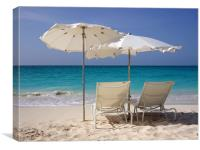 Sun Loungers on Grace Bay Beach, Canvas Print