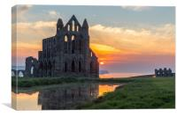Sunset at Whitby Abbey, Canvas Print