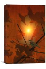 SPARROW IN THE LEAVES, Canvas Print