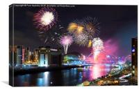 Newcastle upon Tyne, NYE Fireworks 2014/15, Canvas Print
