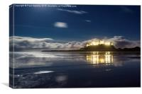 Bamburgh by Moonlight, Canvas Print