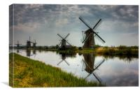 Windmills in Kinderdijk, Kinderdijk, The Netherlan, Canvas Print