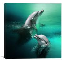 Playful Dolphins, Canvas Print