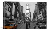 Time Square New York with yellow cab, Canvas Print