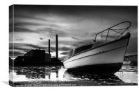 Boat at Power Station, Canvas Print