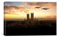 Lancs over Lincoln , Canvas Print