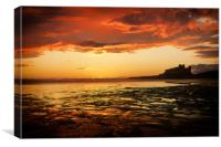 Bamburgh Castle Sunset, Canvas Print