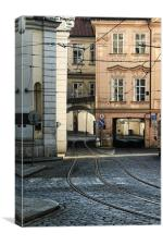 Tram lines in Prague, Canvas Print