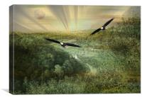 Eagles Over Area Base One., Canvas Print