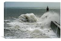 Waves Over Tynemouth Pier II, Canvas Print