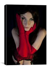 Red long gloves, Canvas Print