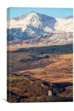 Snowdon and Dolwyddelan castle, Canvas Print