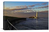Sunset at St Mary's Lighthouse, Canvas Print