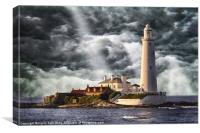 Stormy Skies at St Marys Lighthouse, Canvas Print