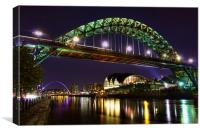 Newcastle Tyne Bridge at night, Canvas Print