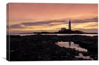 St Mary`s lighthouse, Canvas Print