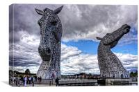 Kelpies under Rain Clouds, Canvas Print