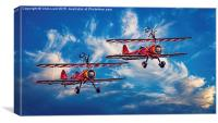 The Barnstorming Girls Wave Farewell, Canvas Print