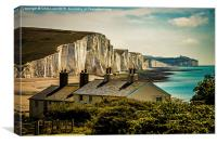 The Seven Sisters  and the Coast Guard Cottages, Canvas Print