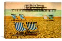 Brighton Beach Paintography, Canvas Print