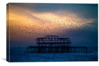West Pier Murmuration At Sunset, Canvas Print