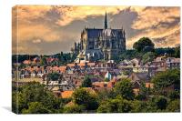 Arundel Cathedral and Village Rooftops, Canvas Print