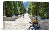 Guitarist on Calvari Steps Pollensa, Canvas Print