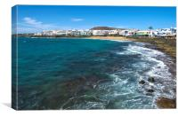 Playa Blanca Town And Beach, Canvas Print