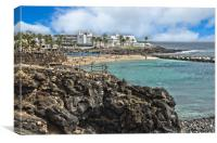 Playa Flamingo Beach in Playa Blanca Lanzarote, Canvas Print