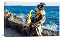 Clown Playing Sax in Playa Blanca, Canvas Print