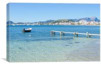 Two Plank Jetty And Puerto Pollensa Harbour, Canvas Print
