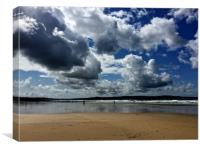 Cloudy skies over St Ives Bay, Canvas Print