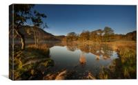 Reflections on Rydal water on an autumn dawn, Canvas Print