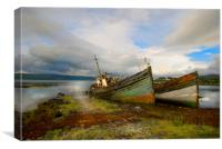 Fishing boats  abandoned Isle of Mull, Canvas Print