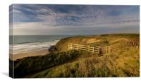 Golden hour at Watergate bay Cornwall, Canvas Print
