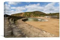 Polkerris harbour Cornwall, Canvas Print