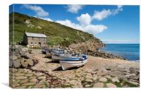 Boats at Penberth cove Cornwall, Canvas Print