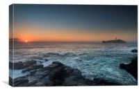 Sunset at Godrevy, Canvas Print