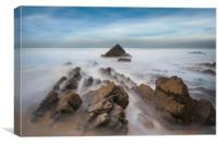 jagged rocks and smooth sea's at Sandymouth beach, Canvas Print