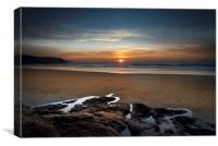 Sunset at Perranporth beach Cornwall, Canvas Print