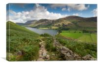 Buttermere and Butteremer fell lake district cumbr, Canvas Print