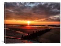 Sunset at Cleveleys Lancashire., Canvas Print