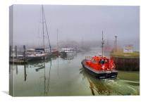 Pilot boat in foggy Lowestoft., Canvas Print