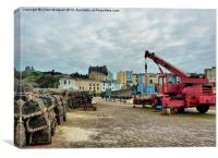 Busy Tenby Harbour., Canvas Print
