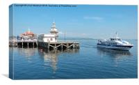 Dunnoon Pier and the Argyll Ferry Boat.  , Canvas Print